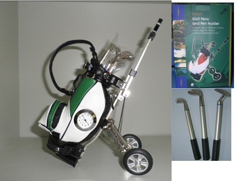trolley golf pen holder with clock