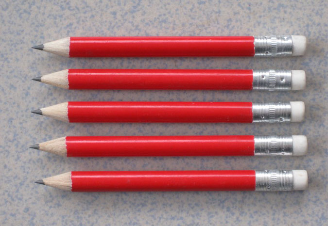 Golf record pencil with eraser